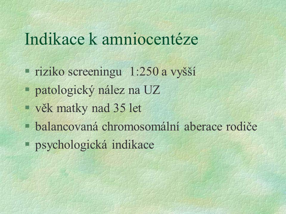 Indikace k amniocentéze §riziko screeningu 1:250 a vyšší §patologický nález na UZ §věk matky nad 35 let §balancovaná chromosomální aberace rodiče §psy