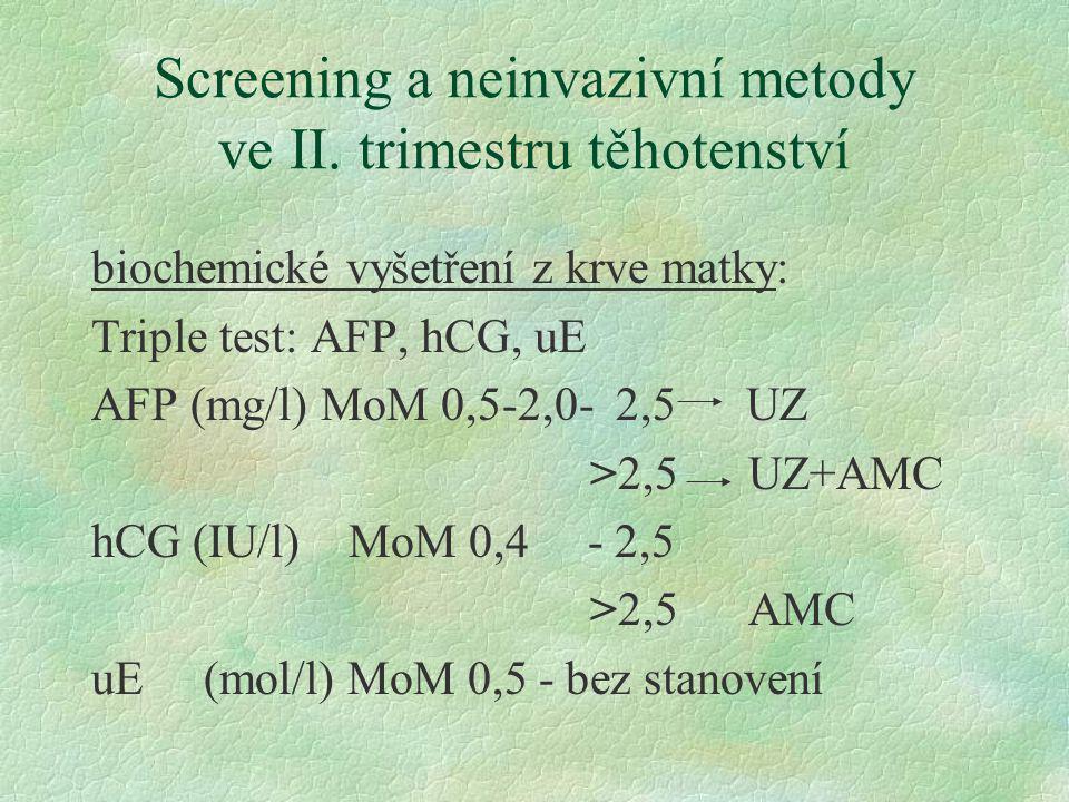 Screening a neinvazivní metody ve II. trimestru těhotenství biochemické vyšetření z krve matky: Triple test: AFP, hCG, uE AFP (mg/l) MoM 0,5-2,0- 2,5