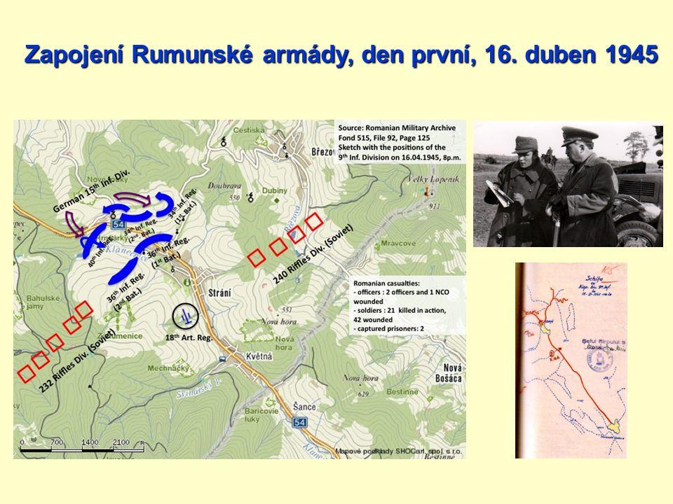 Zapojení Rumunské armády, den první, 16. duben 1945