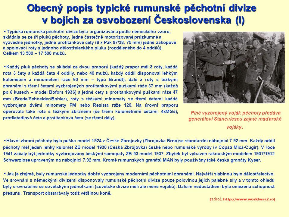 Typická rumunská pěchotní divize byla organizována podle německého vzoru, skládala se ze tří pluků pěchoty, jedné částečně motorizované průzkumné a vý