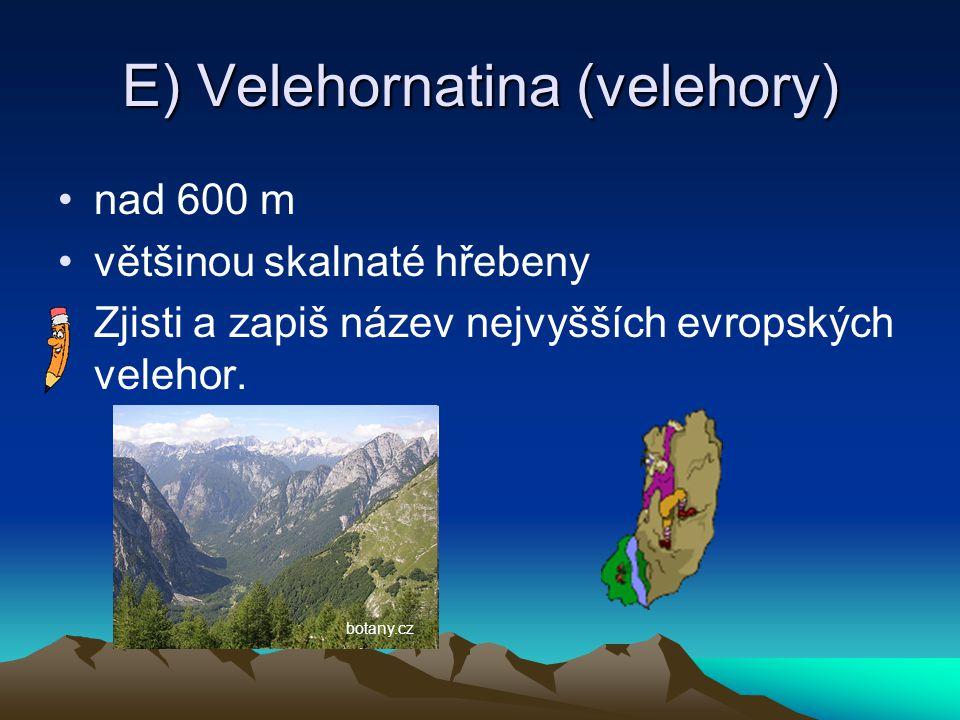 E) Velehornatina (velehory) nad 600 m většinou skalnaté hřebeny Zjisti a zapiš název nejvyšších evropských velehor. botany.cz
