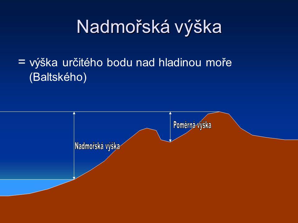 Nadmořská výška = výška určitého bodu nad hladinou moře (Baltského)