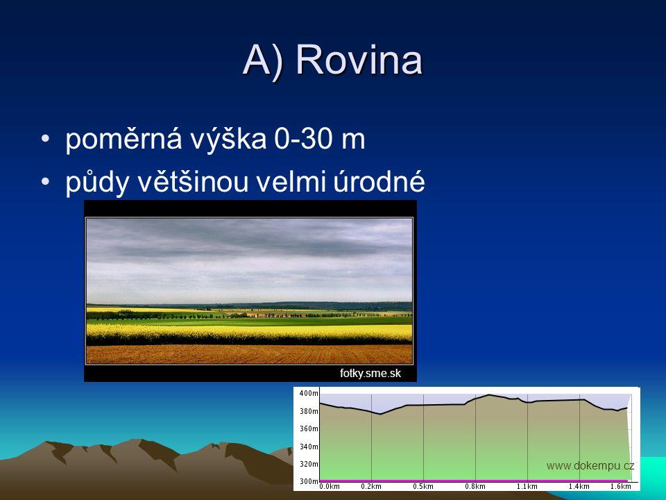 B) Pahorkatiny poměrná výška 30-150 m tvoří většinu povrchu ČR Vyhledej a napiš názvy dvou českých pahorkatin.