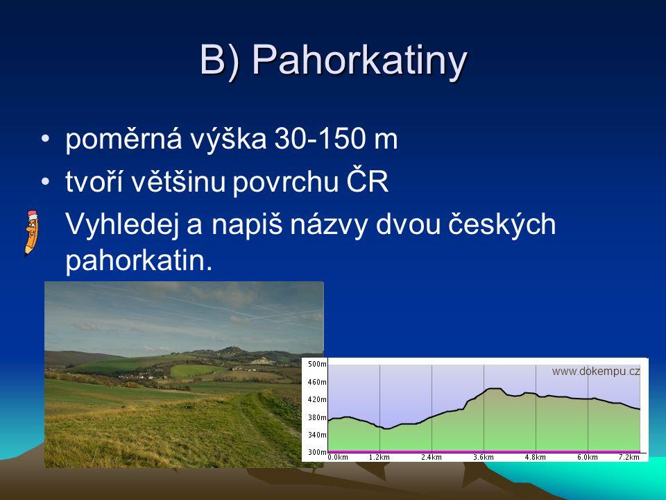 B) Pahorkatiny poměrná výška 30-150 m tvoří většinu povrchu ČR Vyhledej a napiš názvy dvou českých pahorkatin. www.dokempu.cz