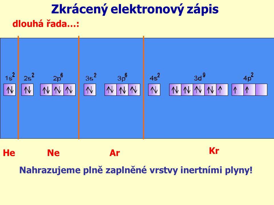 dlouhá řada…: HeNeAr Kr Nahrazujeme plně zaplněné vrstvy inertními plyny! Zkrácený elektronový zápis