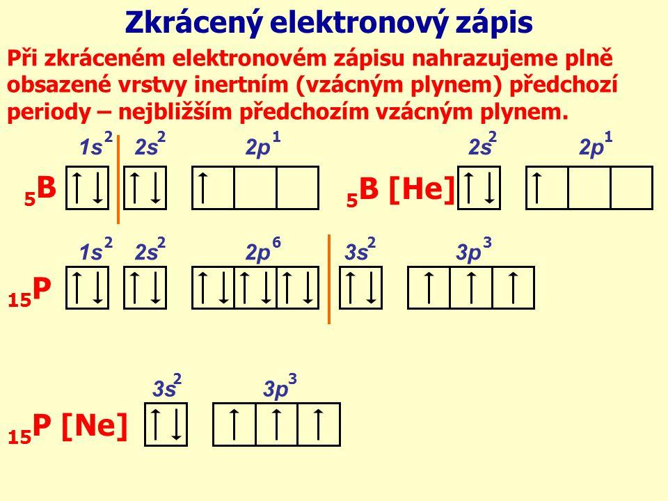 1s 2s 2p 3s 3p 15 P Zkrácený elektronový zápis Při zkráceném elektronovém zápisu nahrazujeme plně obsazené vrstvy inertním (vzácným plynem) předchozí periody – nejbližším předchozím vzácným plynem.