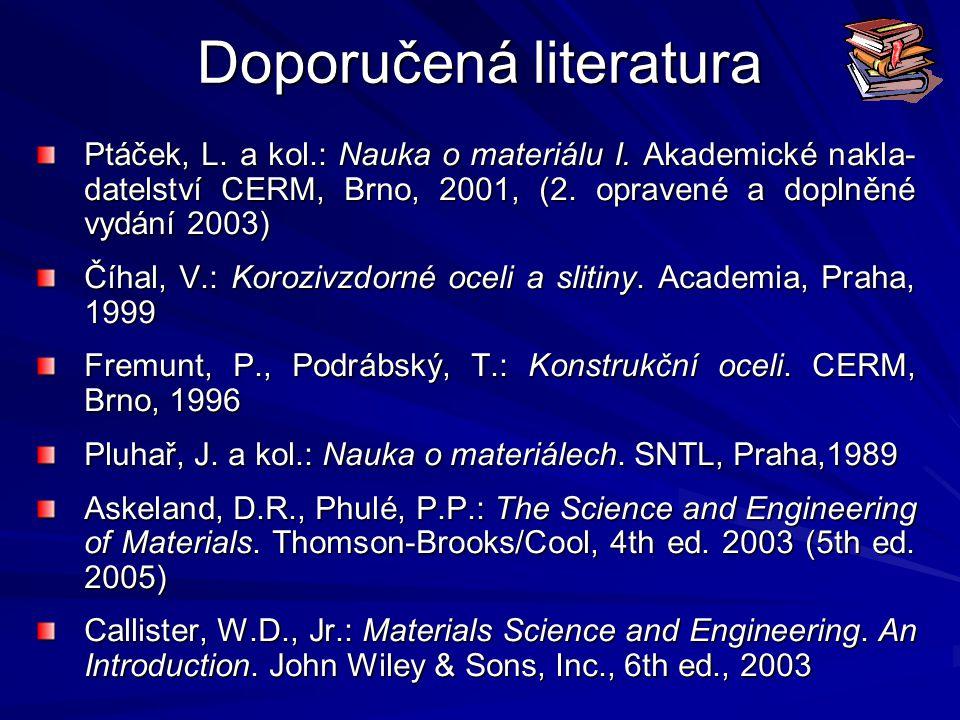 Doporučená literatura Ptáček, L. a kol.: Nauka o materiálu I. Akademické nakla- datelství CERM, Brno, 2001, (2. opravené a doplněné vydání 2003) Číhal