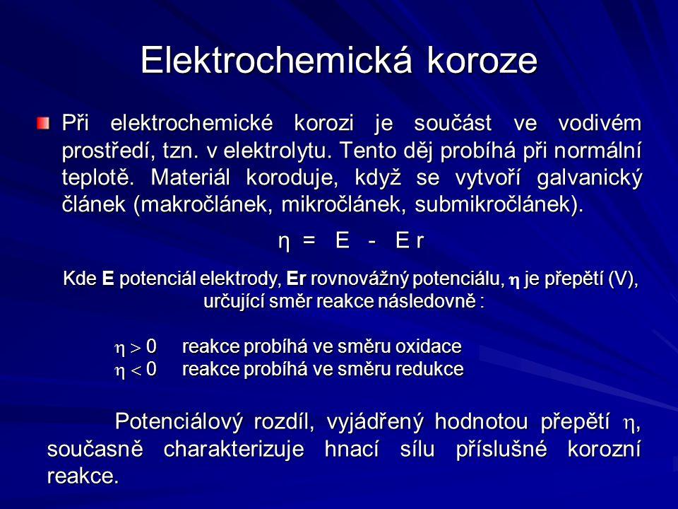 Elektrochemická koroze Při elektrochemické korozi je součást ve vodivém prostředí, tzn. v elektrolytu. Tento děj probíhá při normální teplotě. Materiá