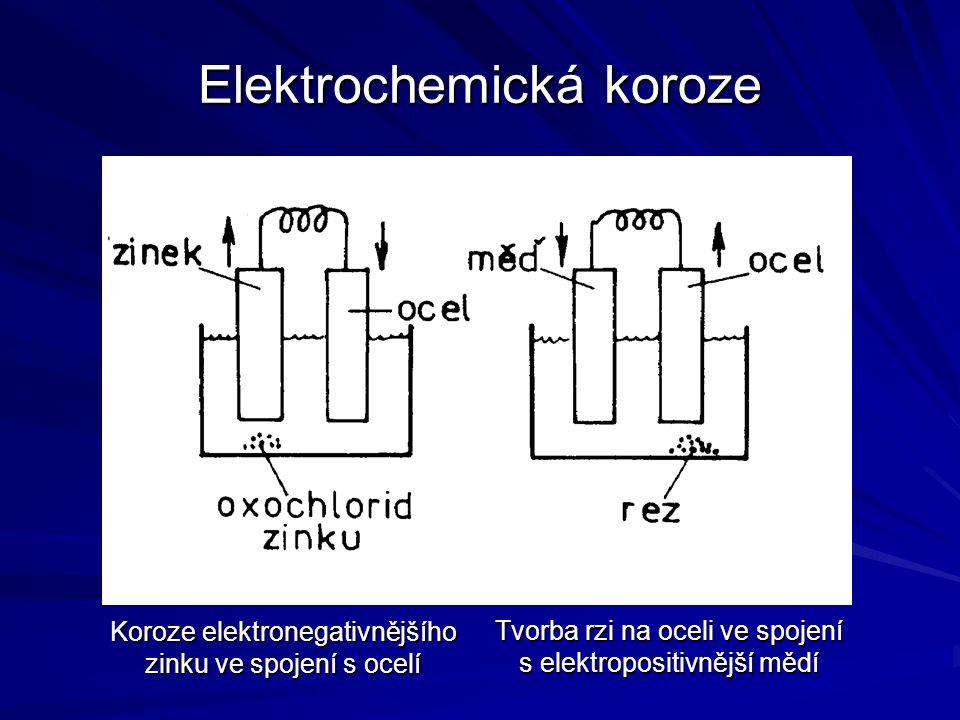 Elektrochemická koroze Koroze elektronegativnějšího zinku ve spojení s ocelí Tvorba rzi na oceli ve spojení s elektropositivnější mědí