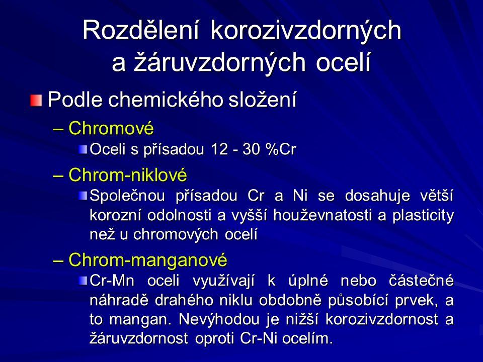 Rozdělení korozivzdorných a žáruvzdorných ocelí Podle chemického složení –Chromové Oceli s přísadou 12 - 30 %Cr –Chrom-niklové Společnou přísadou Cr a