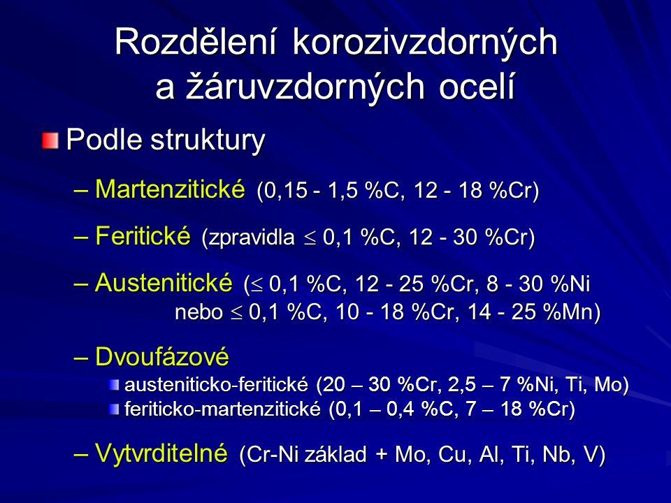 Podle struktury –Martenzitické (0,15 - 1,5 %C, 12 - 18 %Cr) –Feritické (zpravidla  0,1 %C, 12 - 30 %Cr) –Austenitické (  0,1 %C, 12 - 25 %Cr, 8 - 30