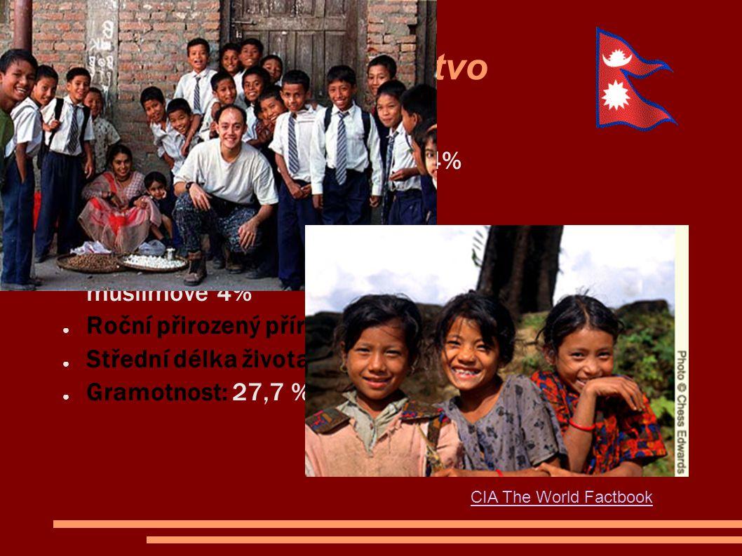 Obyvatelstvo ● Národnostní složení: Nepálci 54% Bihárci 18% ● Náboženství: hinduisté 86% buddhisté 8% muslimové 4% ● Roční přirozený přírůstek: 2,17% ● Střední délka života: muži 59 let, ženy 58 let ● Gramotnost: 27,7 % CIA The World Factbook