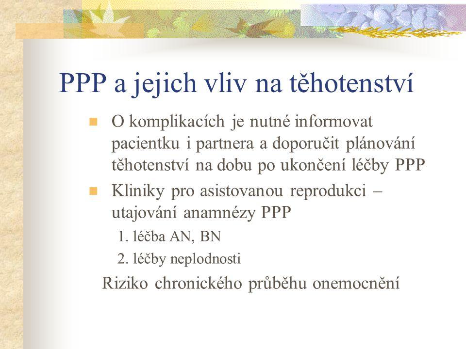 PPP a jejich vliv na těhotenství O komplikacích je nutné informovat pacientku i partnera a doporučit plánování těhotenství na dobu po ukončení léčby P