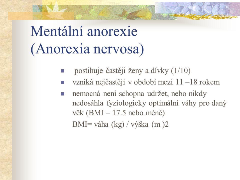"""Mentální anorexie (Anorexia nervosa) obava z tloušťky i při nízké hmotnosti, narušené vnímání vlastního těla, popírání závažnosti vyhublosti, závislost sebevědomí na sebekontrole a váze Primární, sekundární amenorhea u žen existují různé důvody, které mohou hladovění """"spustit a udržovat."""