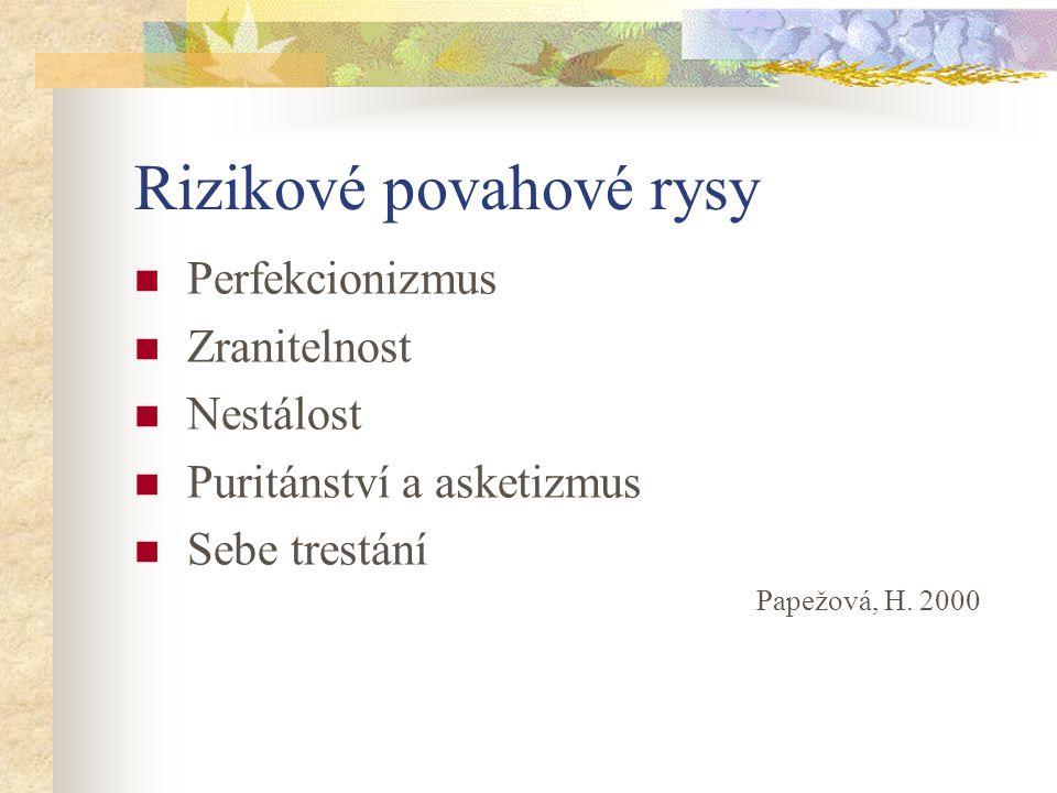 Rizikové povahové rysy Perfekcionizmus Zranitelnost Nestálost Puritánství a asketizmus Sebe trestání Papežová, H. 2000