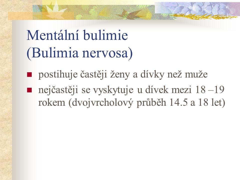 Mentální bulimie (Bulimia nervosa) záchvatovité přejídání střídající se s hladověním a zvracením při zachování většinou normální váhy (BMI 19-23,9) opakované používání nepřiměřených kompenzačních mechanismů k zabránění přírůstku váhy: užívání laxativ, diuretik, klystýrů a léků na hubnutí, záměrně vyvolávané zvracení, hladovění, nadměrná fyzická činnost