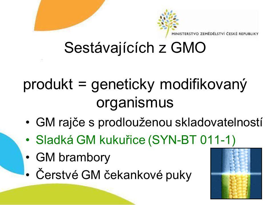 Sestávajících z GMO produkt = geneticky modifikovaný organismus GM rajče s prodlouženou skladovatelností Sladká GM kukuřice (SYN-BT 011-1) GM brambory Čerstvé GM čekankové puky