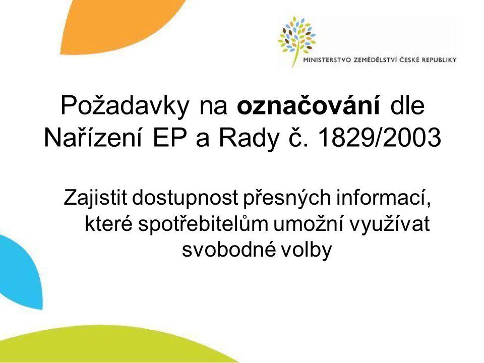 Požadavky na označování dle Nařízení EP a Rady č.