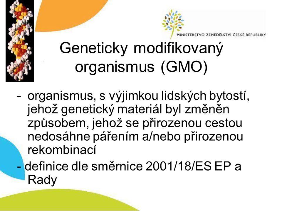 Geneticky modifikovaný organismus (GMO) -organismus, s výjimkou lidských bytostí, jehož genetický materiál byl změněn způsobem, jehož se přirozenou cestou nedosáhne pářením a/nebo přirozenou rekombinací - definice dle směrnice 2001/18/ES EP a Rady