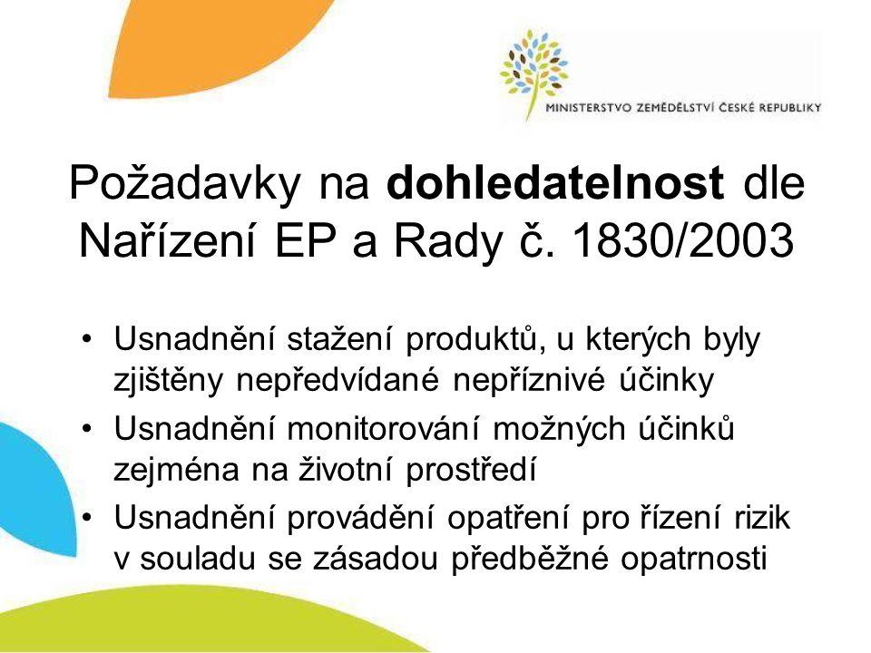 Požadavky na dohledatelnost dle Nařízení EP a Rady č.