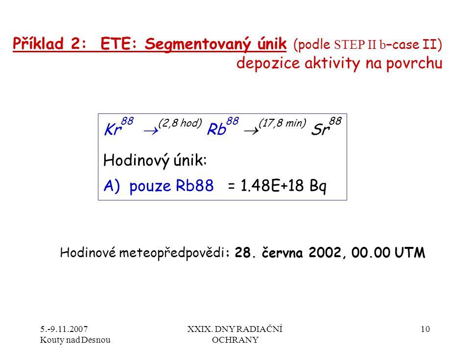 5.-9.11.2007 Kouty nad Desnou XXIX. DNY RADIAČNÍ OCHRANY 10 Příklad 2: ETE: Segmentovaný únik (podle STEP II b –case II) depozice aktivity na povrchu