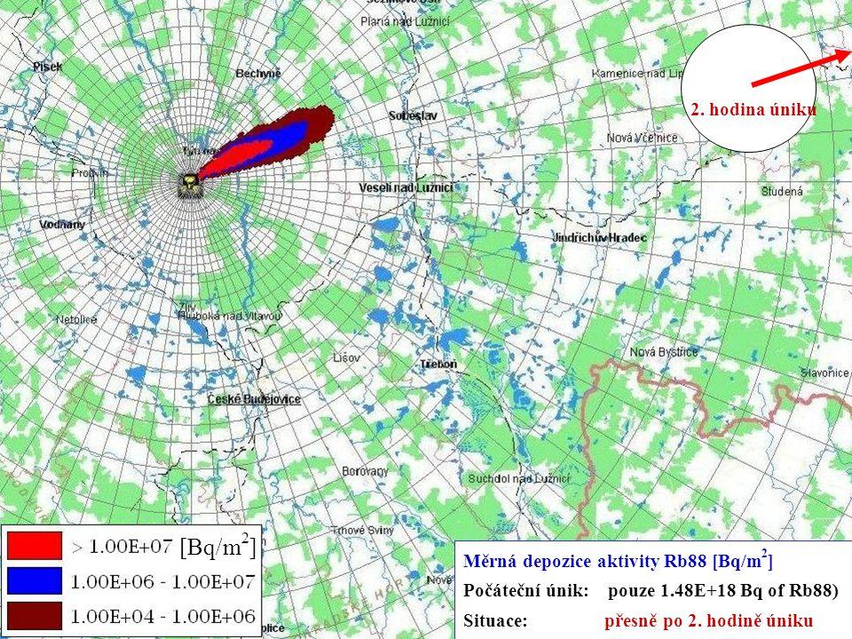 5.-9.11.2007 Kouty nad Desnou XXIX. DNY RADIAČNÍ OCHRANY 11 [Bq/m 2 ] Měrná depozice aktivity Rb88 [Bq/m 2 ] Počáteční únik: pouze 1.48E+18 Bq of Rb88