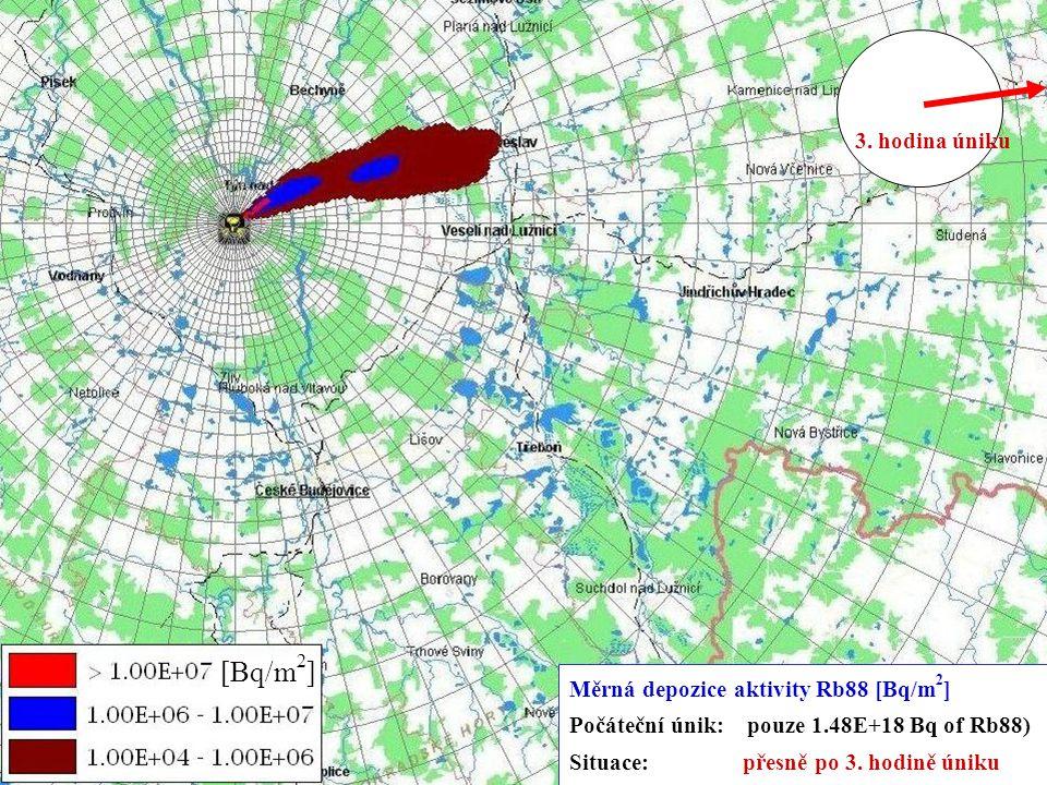5.-9.11.2007 Kouty nad Desnou XXIX. DNY RADIAČNÍ OCHRANY 12 [Bq/m 2 ] Měrná depozice aktivity Rb88 [Bq/m 2 ] Počáteční únik: pouze 1.48E+18 Bq of Rb88