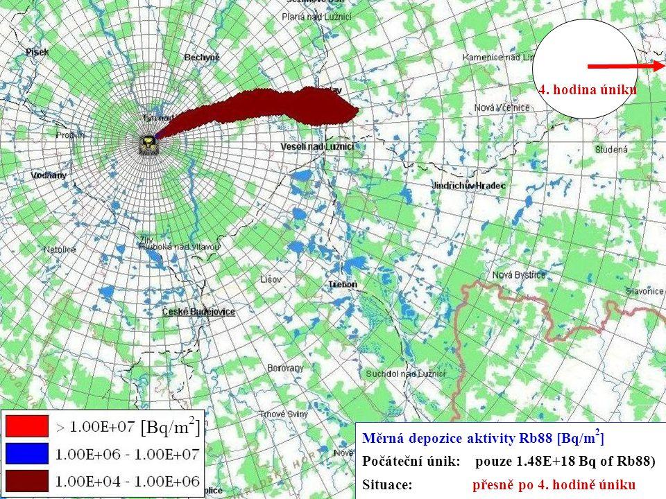 5.-9.11.2007 Kouty nad Desnou XXIX. DNY RADIAČNÍ OCHRANY 13 [Bq/m 2 ] Měrná depozice aktivity Rb88 [Bq/m 2 ] Počáteční únik: pouze 1.48E+18 Bq of Rb88