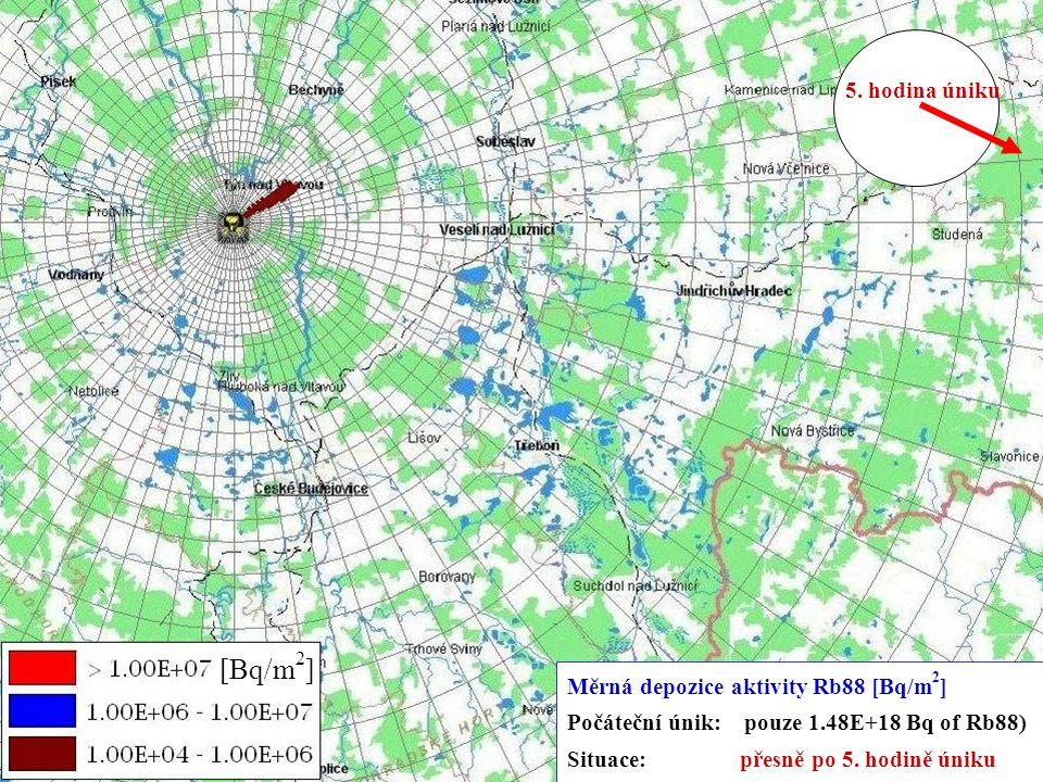 5.-9.11.2007 Kouty nad Desnou XXIX. DNY RADIAČNÍ OCHRANY 14 [Bq/m 2 ] Měrná depozice aktivity Rb88 [Bq/m 2 ] Počáteční únik: pouze 1.48E+18 Bq of Rb88