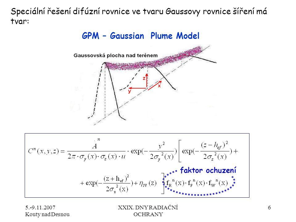 5.-9.11.2007 Kouty nad Desnou XXIX. DNY RADIAČNÍ OCHRANY 6 Speciální řešení difúzní rovnice ve tvaru Gaussovy rovnice šíření má tvar: GPM – Gaussian P