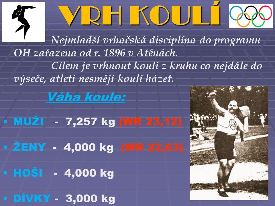 VRH KOULÍ Váha koule:  MUŽI - 7,257 kg (WR 23,12)  ŽENY - 4,000 kg (WR 22,63)  HOŠI - 4,000 kg  DÍVKY - 3,000 kg Nejmladší vrhačská disciplína do programu OH zařazena od r.