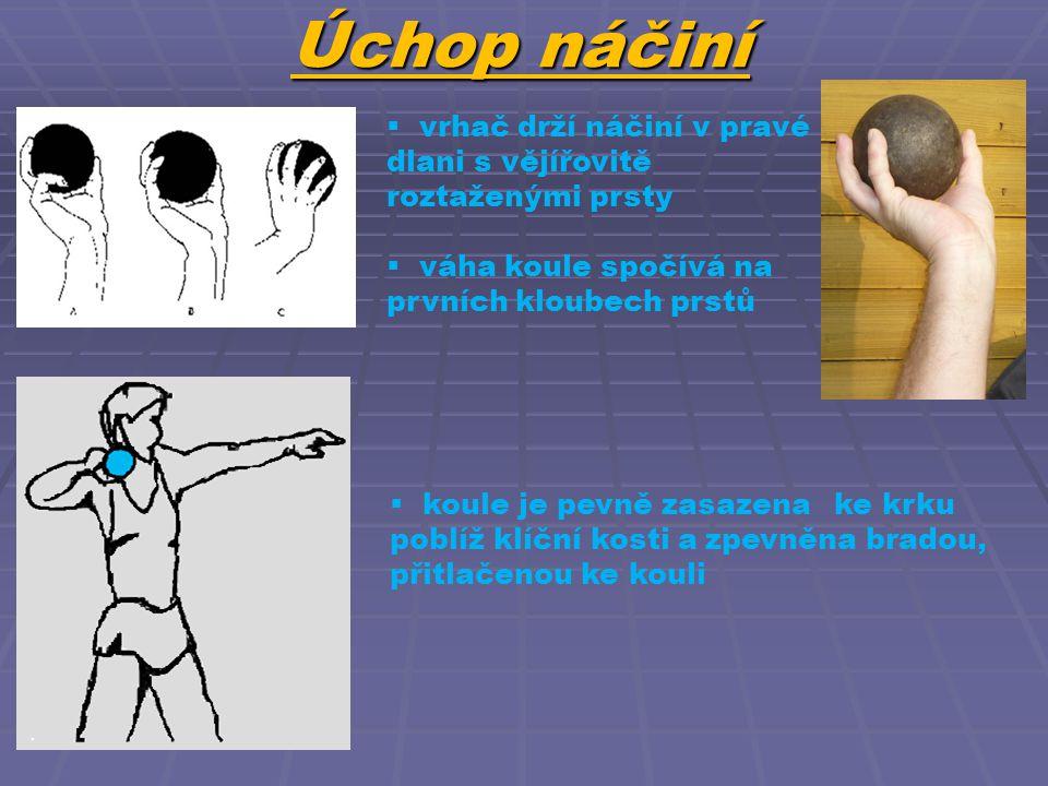 Úchop náčiní  vrhač drží náčiní v pravé dlani s vějířovitě roztaženými prsty  váha koule spočívá na prvních kloubech prstů  koule je pevně zasazena