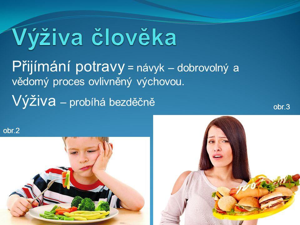 Přijímání potravy = návyk – dobrovolný a vědomý proces ovlivněný výchovou.