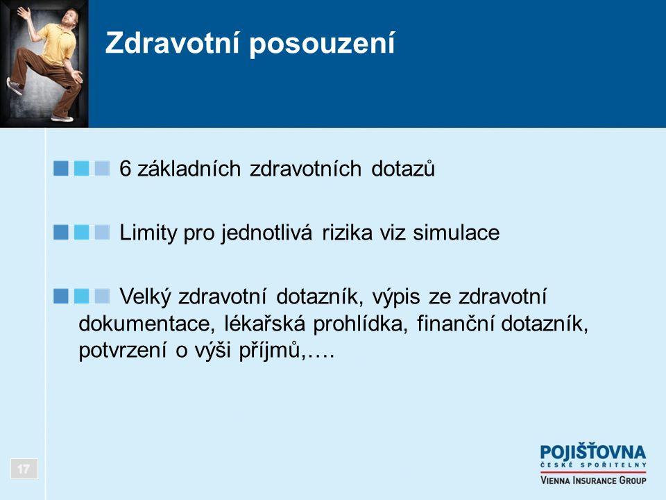 Zdravotní posouzení 6 základních zdravotních dotazů Limity pro jednotlivá rizika viz simulace Velký zdravotní dotazník, výpis ze zdravotní dokumentace