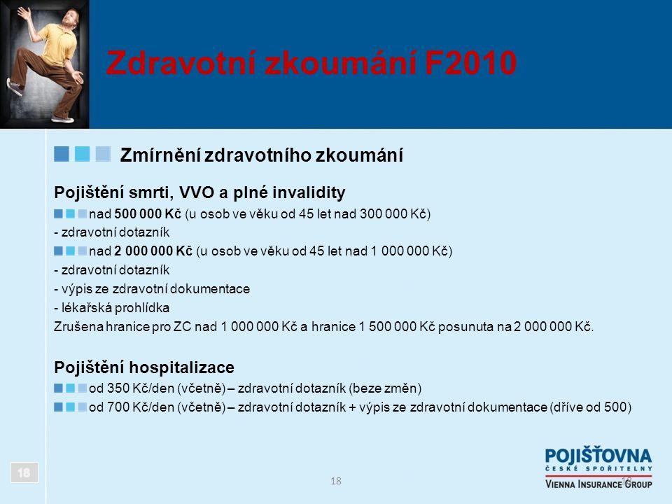 18 Zdravotní zkoumání F2010 Zmírnění zdravotního zkoumání Pojištění smrti, VVO a plné invalidity nad 500 000 Kč (u osob ve věku od 45 let nad 300 000
