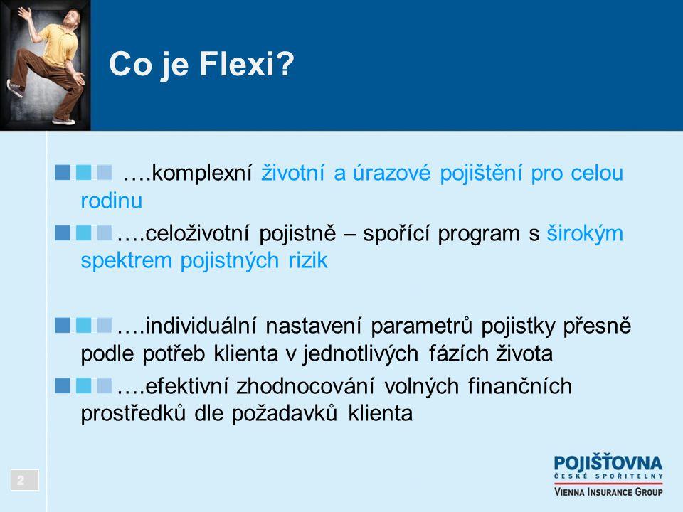 Co je Flexi? ….komplexní životní a úrazové pojištění pro celou rodinu ….celoživotní pojistně – spořící program s širokým spektrem pojistných rizik ….i