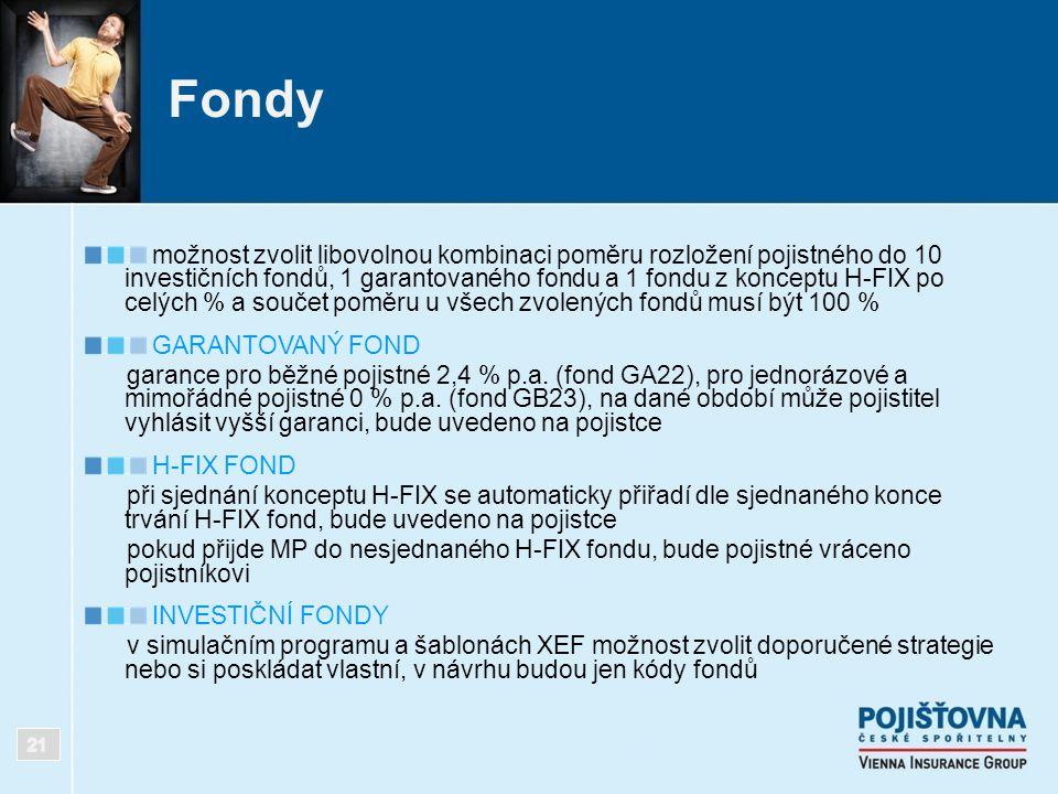 Fondy možnost zvolit libovolnou kombinaci poměru rozložení pojistného do 10 investičních fondů, 1 garantovaného fondu a 1 fondu z konceptu H-FIX po ce