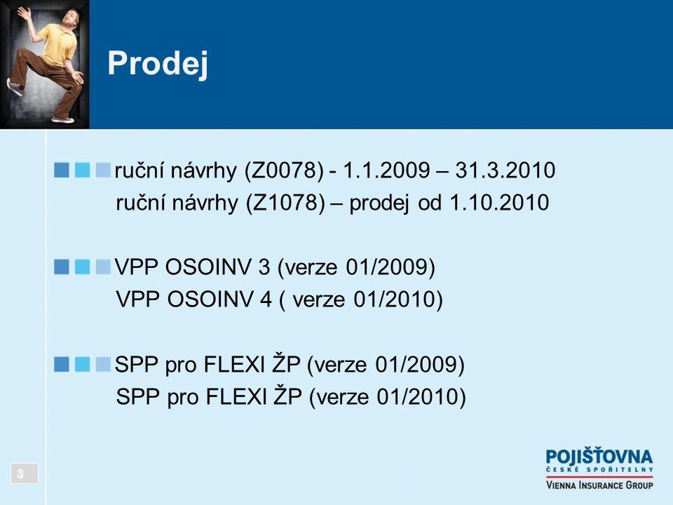 Prodej ruční návrhy (Z0078) - 1.1.2009 – 31.3.2010 ruční návrhy (Z1078) – prodej od 1.10.2010 VPP OSOINV 3 (verze 01/2009) VPP OSOINV 4 ( verze 01/201
