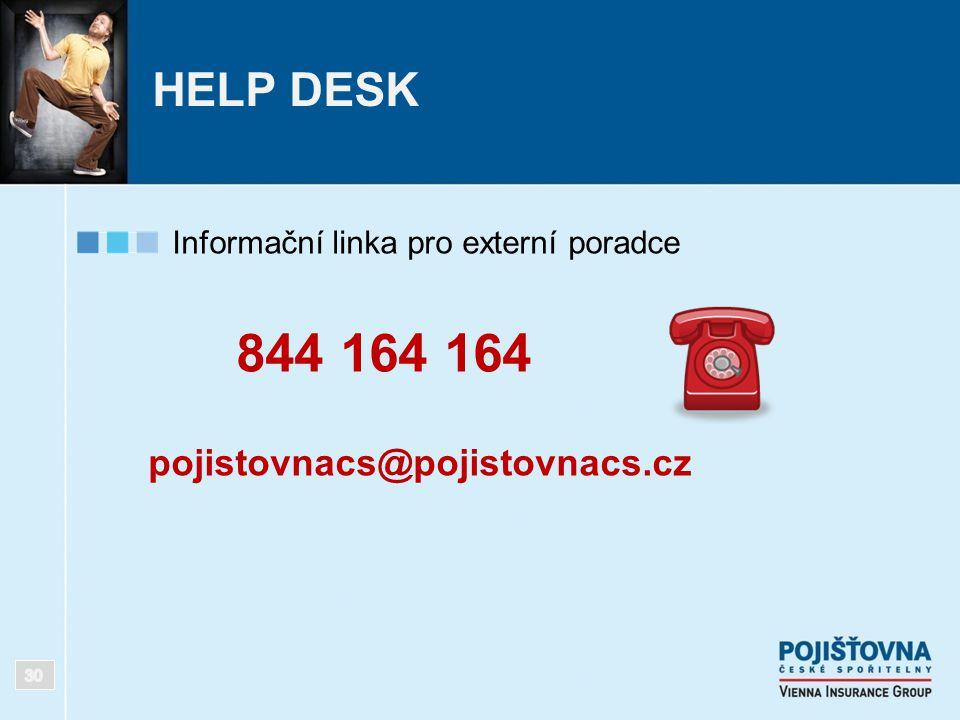 HELP DESK Informační linka pro externí poradce 844 164 164 pojistovnacs@pojistovnacs.cz