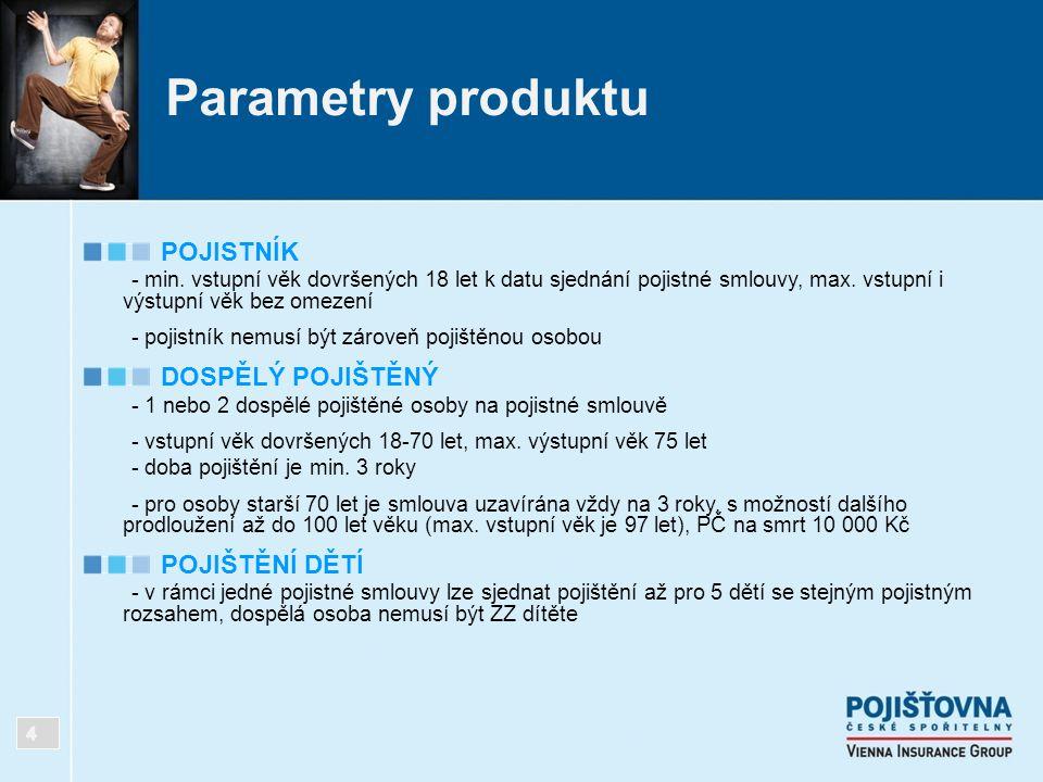 Parametry produktu POJISTNÍK - min. vstupní věk dovršených 18 let k datu sjednání pojistné smlouvy, max. vstupní i výstupní věk bez omezení - pojistní