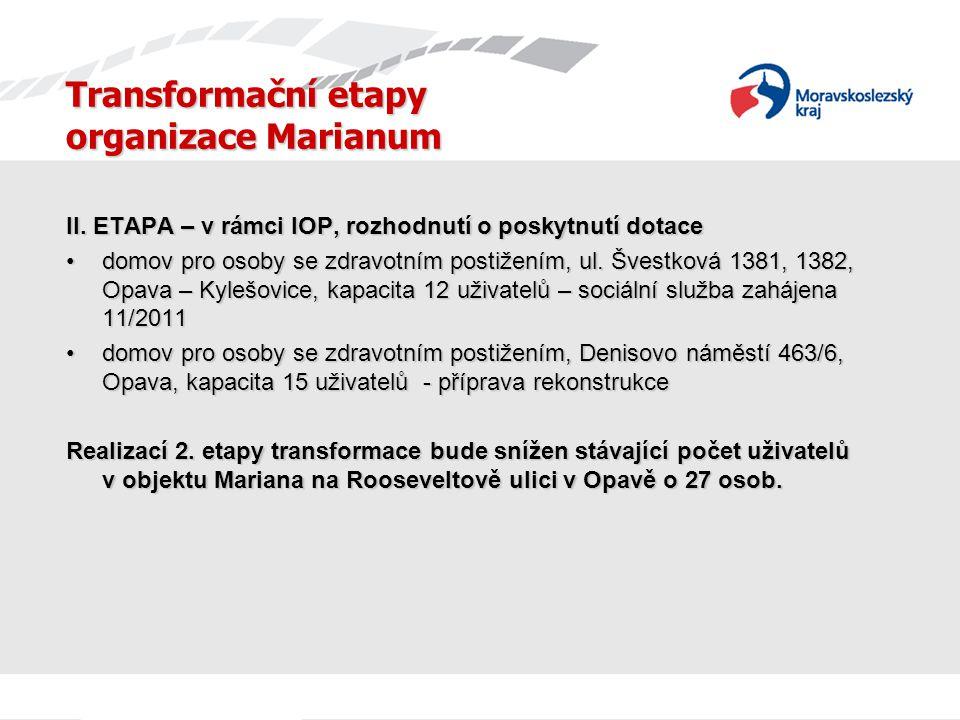 Transformační etapy organizace Marianum II. ETAPA – v rámci IOP, rozhodnutí o poskytnutí dotace domov pro osoby se zdravotním postižením, ul. Švestkov