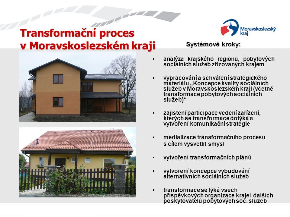 Transformační proces v Moravskoslezském kraji Systémové kroky: analýza krajského regionu, pobytových sociálních služeb zřizovaných krajem vypracování