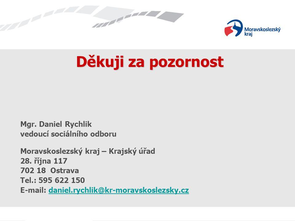 Děkuji za pozornost Mgr. Daniel Rychlik vedoucí sociálního odboru Moravskoslezský kraj – Krajský úřad 28. října 117 702 18 Ostrava Tel.: 595 622 150 E