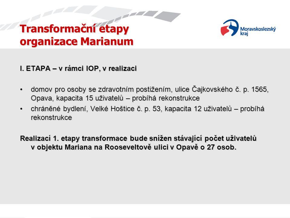 Transformační etapy organizace Marianum I. ETAPA – v rámci IOP, v realizaci domov pro osoby se zdravotním postižením, ulice Čajkovského č. p. 1565, Op
