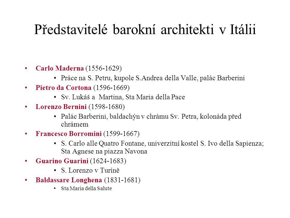 Představitelé barokní architekti v Itálii Carlo Maderna (1556-1629) Práce na S. Petru, kupole S.Andrea della Valle, palác Barberini Pietro da Cortona