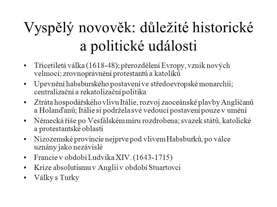 Vyspělý novověk: důležité historické a politické události Třicetiletá válka (1618-48); přerozdělení Evropy, vznik nových velmocí; zrovnoprávnění prote