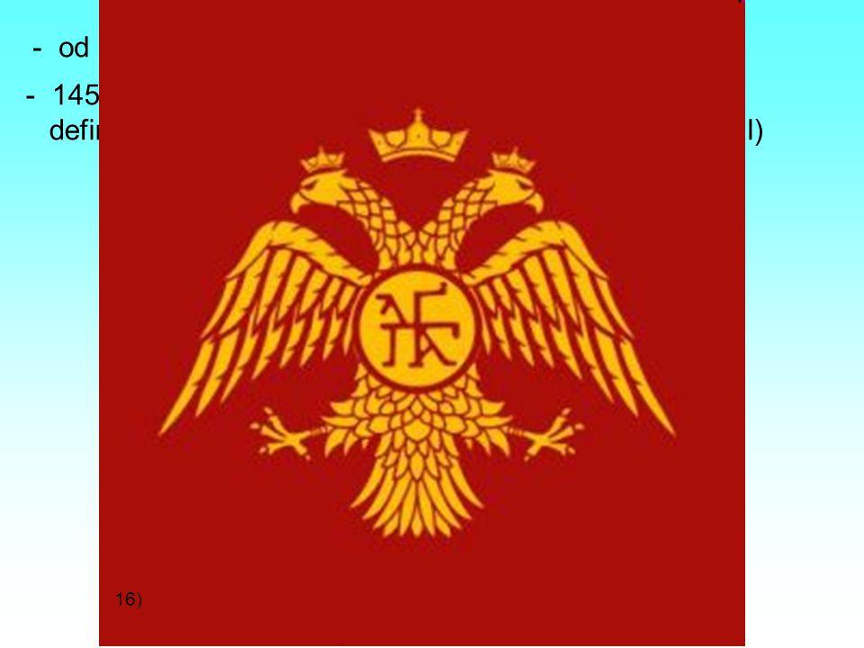 - od 11. století útoky Turků, postupný úpadek říše - 1453 Turci dobyli Konstantinopol a Byzantská říše definitivně padla (město bylo přejmenováno na I