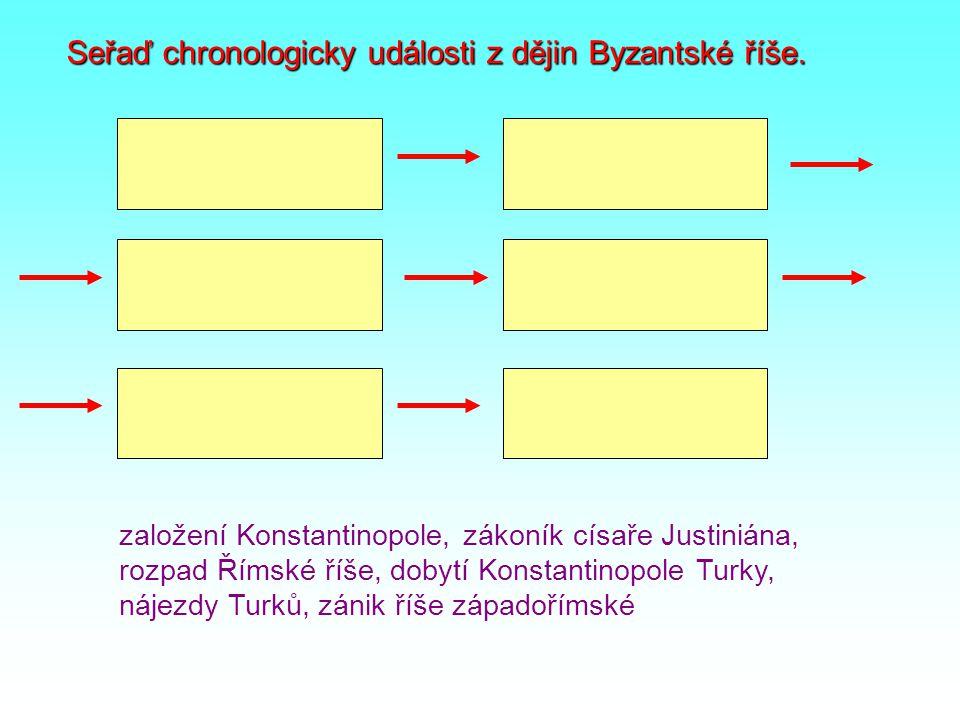 Seřaď chronologicky události z dějin Byzantské říše. založení Konstantinopole, zákoník císaře Justiniána, rozpad Římské říše, dobytí Konstantinopole T
