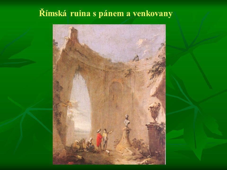 Římská ruina s pánem a venkovany