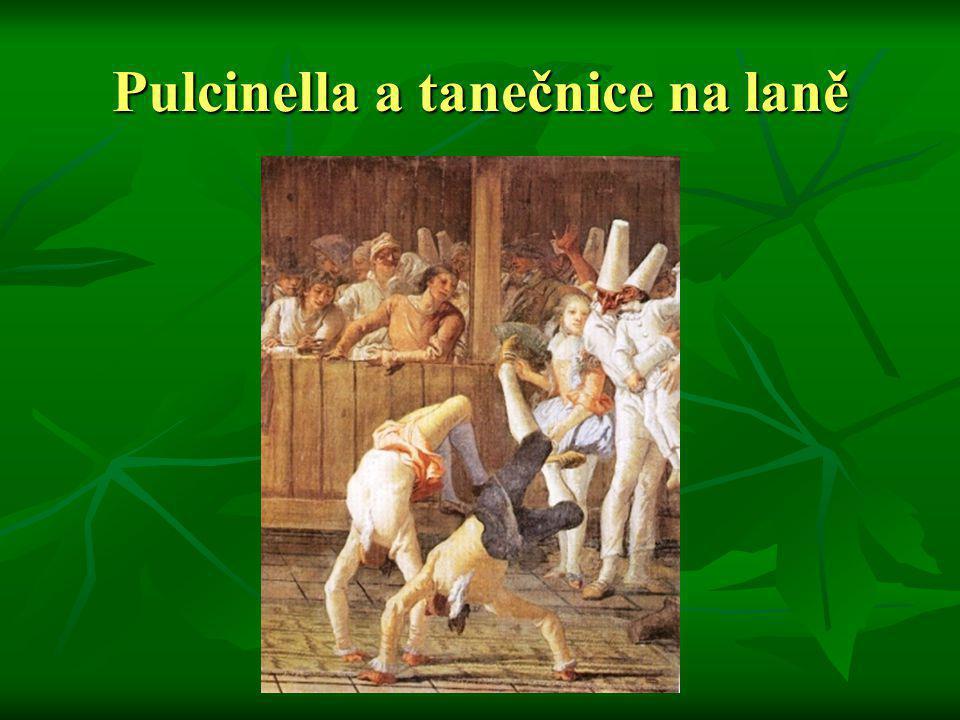 Pulcinella a tanečnice na laně